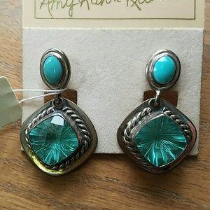 Turquoise Celestial Quartz Sterling Post Earrings